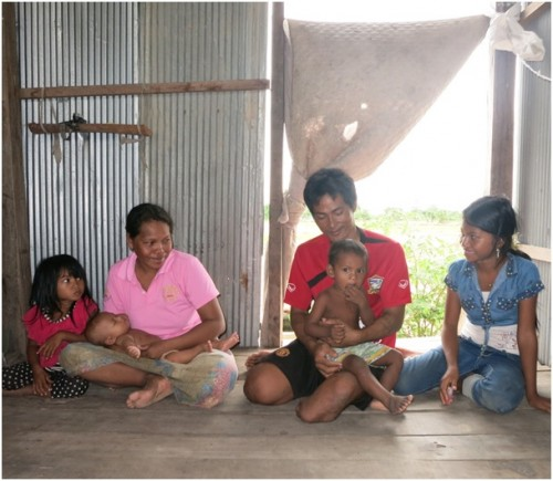Mr Pagna and his family in their home in Banteay Meanchey