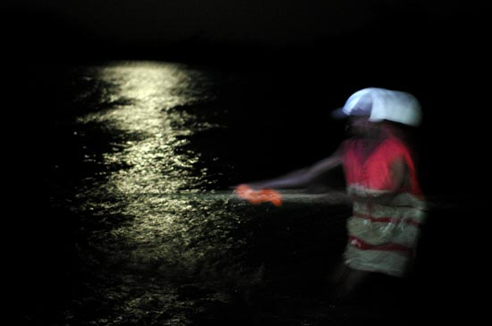 Fisherman on Lake Victoria in the middle of the night