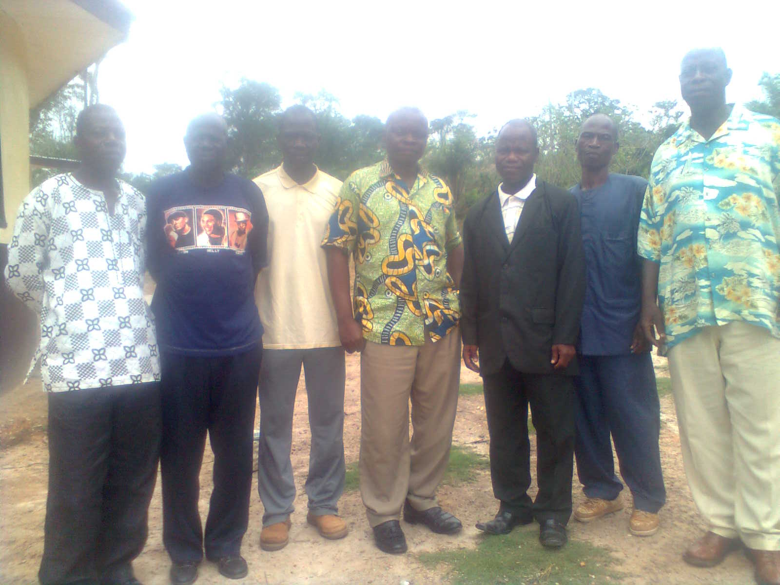 Local law enforcement near Nimba County in Liberia gathered for a JusticeMakers workshop about the rights of the accused living with HIV/AIDS. From left to right: 1) Police Commander a. Cyrus Marwon 2) Cllr. Gideon Tozay, Clerk of Debt Court 3) Arthur Queyaker 4) Cllr. Cooper Gweh, Associate Magistrate 5) JusticeMakers C. Christian Zarweah 6) Staff at the City Council Hon.Stanley Bella, and 7) Attorney Julius Monluo.