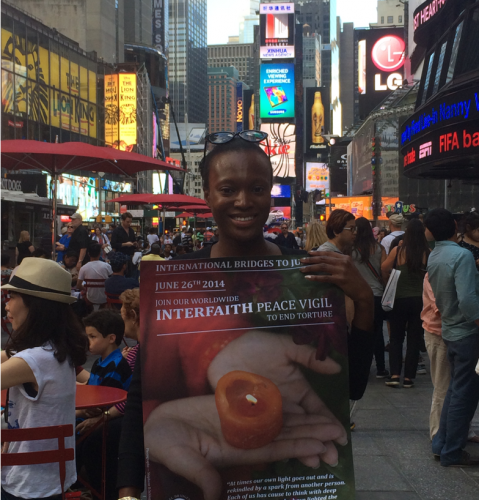 Former IBJ staff Jamila Justine Willis at Times Square, New York City