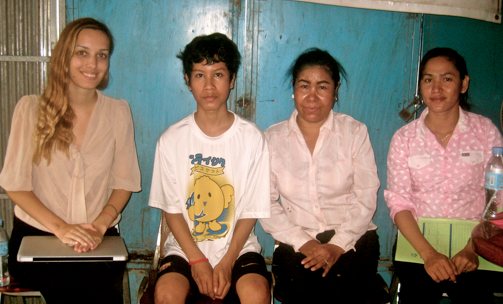 Me (legal intern), Vannak[1], Vannak's Mother, Kalyan (lawyer assistant); Taken at their home.