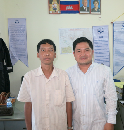 Mr. Kheng and Nou Chandeth, the IBJ lawyer in Kampong Thom office