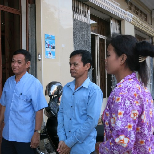 From left to right: Mr. Ouk Vandeth (IBJ country director), Sophal and his wife Thea.