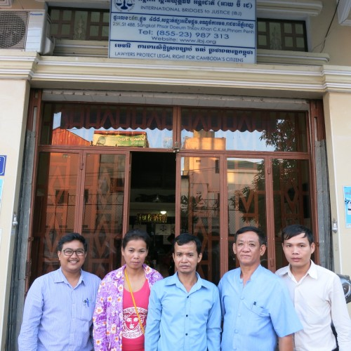 From left to right: Mr. Kin Vibol (IBJ lawyer) with his released clients Thea and Sophal, Mr. Ouk Vandeth (IBJ Country Director) and Mr. Sok Sopheak (IBJ lawyer assistant) in front of Phnom Penh IBJ office.