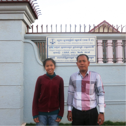 Sreymom and Mao Sary, IBJ Lawyer in DRC, in front of IBJ office in Rattanakiri
