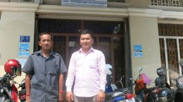 Sokem and Sophoes, IBJ Lawyer Assistant at the Court of Appeal in front of IBJ office in Phnom Penh
