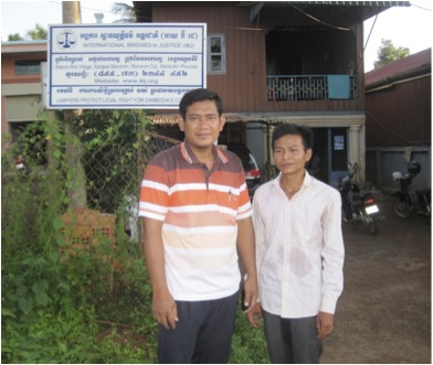 IBJ provincial lawyer Makara with his former client Sophal in front of Mondulkiri office
